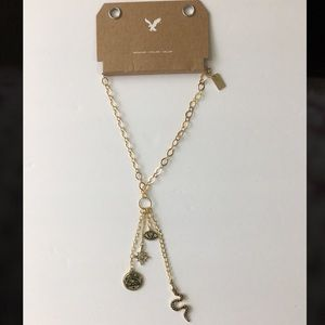 AE American Eagle charm necklace gold tone